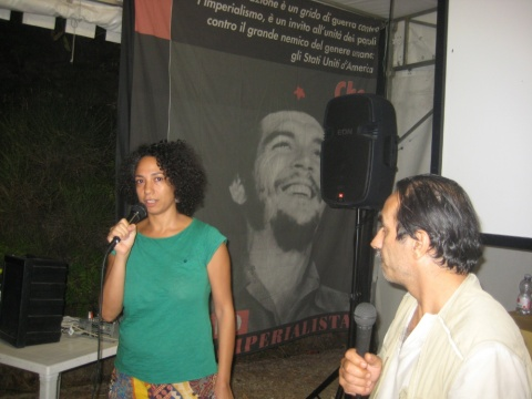 Amal Ramsis, Egyptian film director, with Moreno Pasquinelli (r), AIC