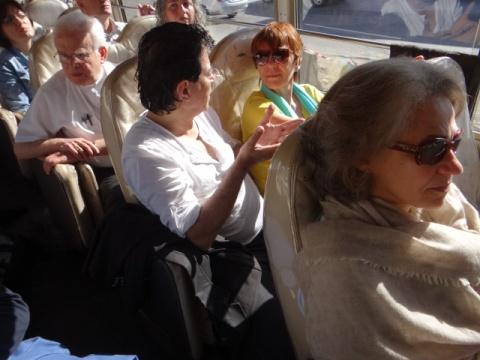 In the bus: Mireille Fanon Mendès-France (r)