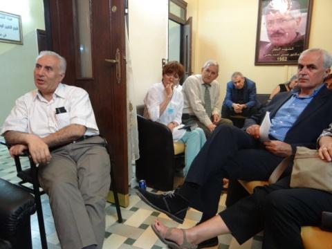 NCB's office: Greek MP Boudouris (r); NCB member, former political prisoner