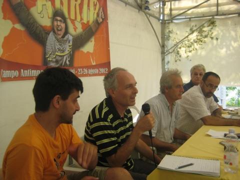 Yoav Bar (speaking), Attia Rajab, Zaher Birawi, Leo Gabriel (r)