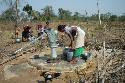 Hand water pump built by the solidarity movement