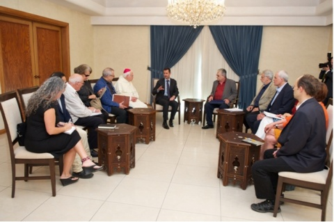 Discussing with the president Bashar al Assad