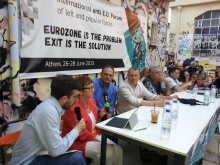 Speakers from Germany, France, Italy and Greece addressing the Anti-EU forum