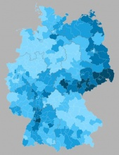 AfD's share elevated in the east (secondary votes)