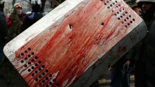 Blood on a shield on Maidan