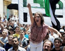Anti-regime demonstrators in the province of Idlib, June 29, 2012